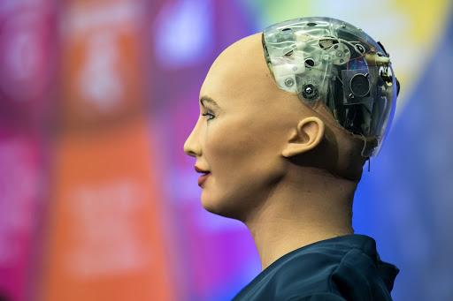 Sophia, Hanson Robotics Ltd. speaking at the AI for Global Good Summit in 2017 (Source: Flickr)