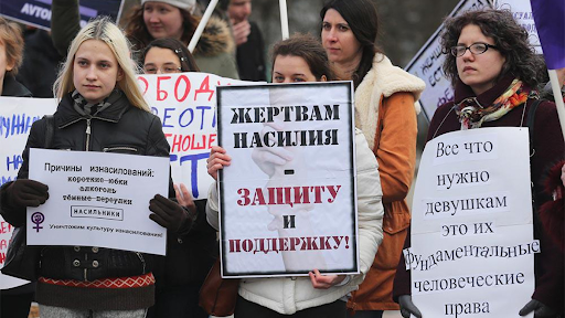 Women marching for their rights in Russia