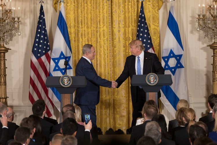 United States President Donald Trump and Israeli Prime Minister Benjamin Netanyahu at a press conference in February 2017.