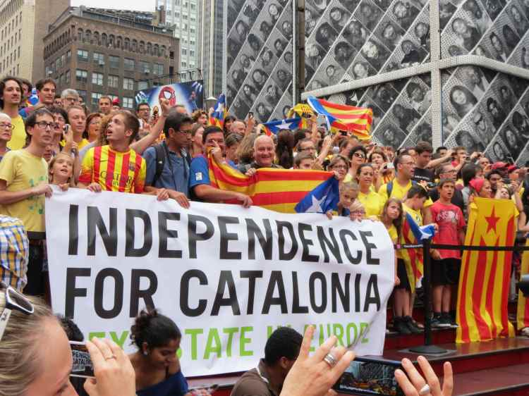 Protestors march for Catalan Independence