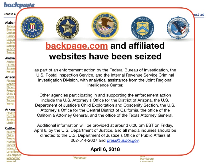 The notice posted on Backpage after the site's seizure by federal authorities on 6th April 2018