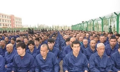 Detainees in a re-education camp, 2017
