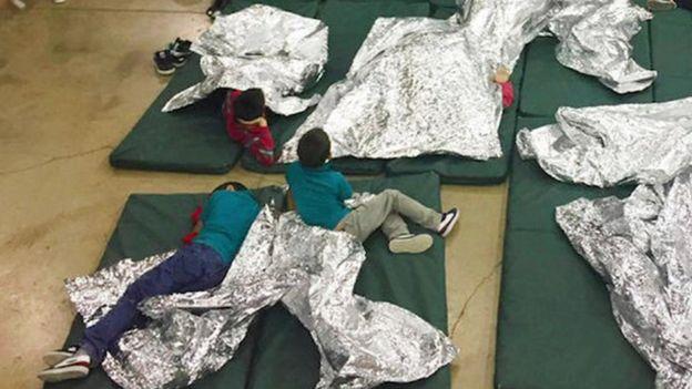 Immigrant children in a detention centre